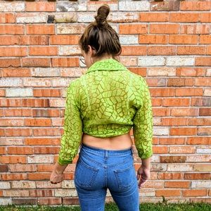 Vintage Neon Green Sheer Button-Up Shirt